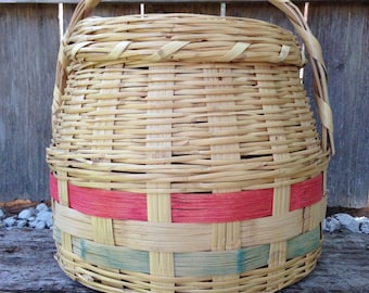 Vintage Woven Large Basket with Natural Pink and Green Coloring Removable Lid with Handle