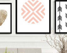 Printable Coral Art Print, Coral Chevron Prints, Chevron Wall Art, Coral Wall Prints, Printable  Chevron Art, Coral Geometric Art Decor