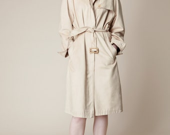 Pale mustard yellow suedette trench coat, raglan sleeve, belted, Finnish design