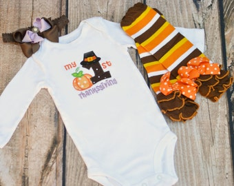 My First Thanksgiving Outfit - Baby Girl 1st Thanksgiving - Thanksgiving bodysuit - Infant Thanksgiving Outfit - Newborn Girl Thanksgiving