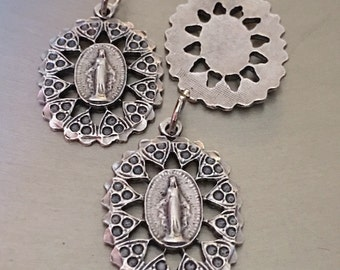 Set of 3 Our Lady of Grace Medals Virgin Mary Light Weight 1 Tall