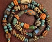 Handmade Artisan Ceramic Beads - Mixed Strand