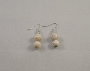White turquoise pendants on silver plated shepherd hook ear wires