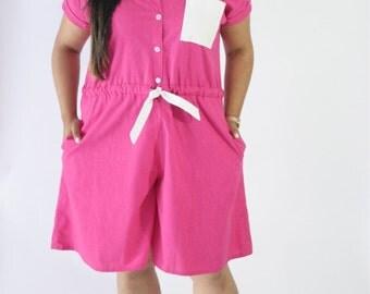 Plus Size Hot Pink Romper