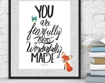 Bible Verse - 8x10 Wall Art Printable - Woodland Animals Print - Grey - Psalm 139 Verse 14 - Handlettering - INSTANT DOWNLOAD
