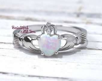 Opal Claddagh Ring, Traditional Irish Ring, Celtic Design, White Opal Lab Created Silver Promise Ring, Girls, Anniversary Gift, Fede Rings