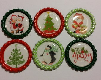 Set of 6 Christmas themed Finished Bottle Caps