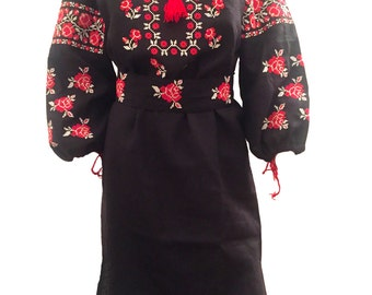 "Bohemian festival Ukrainian embroidered ""Vyshyvanka"" dress"
