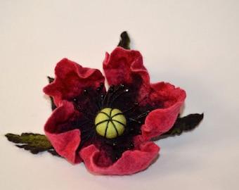 Felted Flower Brooch Red Poppy pin
