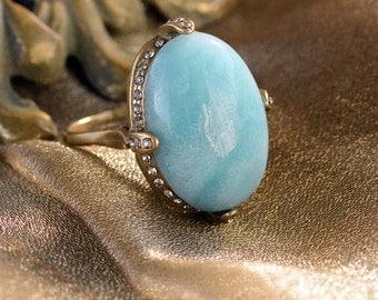 Gemstone Ring, Amazonite Ring, Natural Gemstone Ring, Blue Ring, Amazonite Jewelry, Vintage Gemstone Ring, Gemstone Jewelry R131