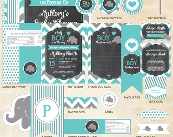 Elephant Baby Shower Decor Package, Elephant Decor Package, Elephant, Teal, Gray, Chevron, Balloon | Printable