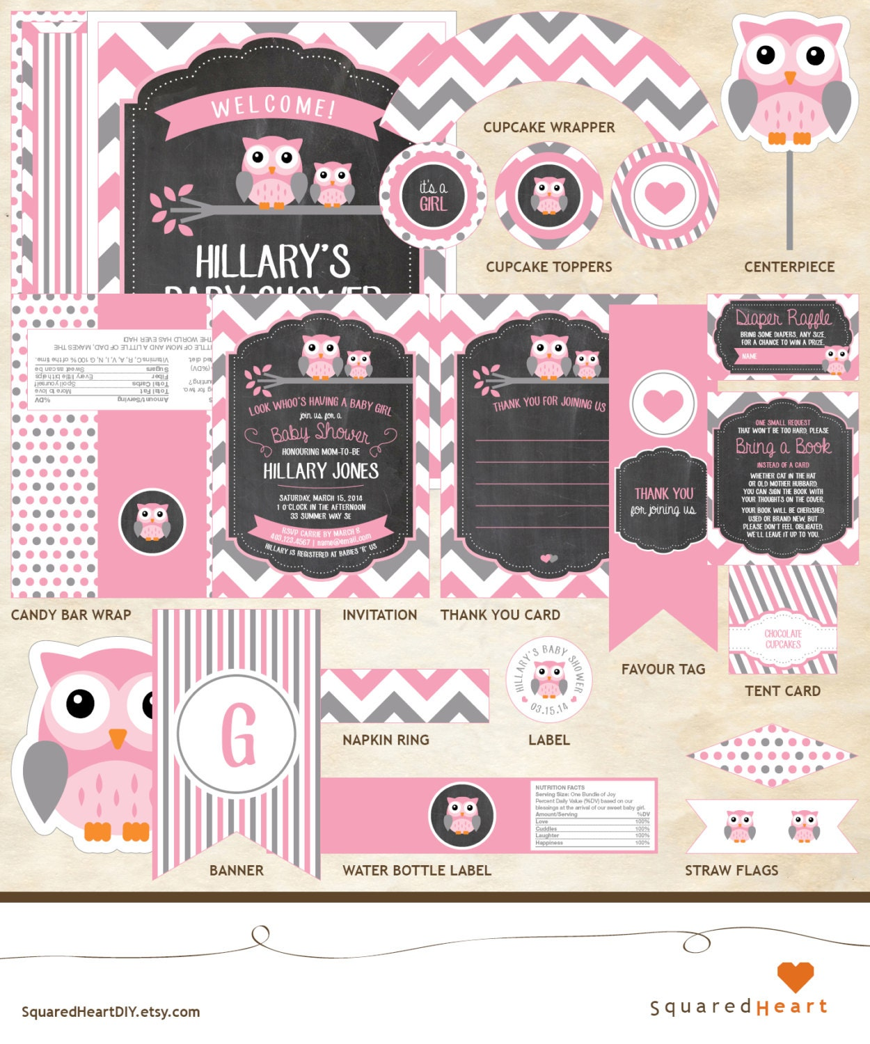 Owl baby shower decor package owl decor package by for Baby shower decoration packages