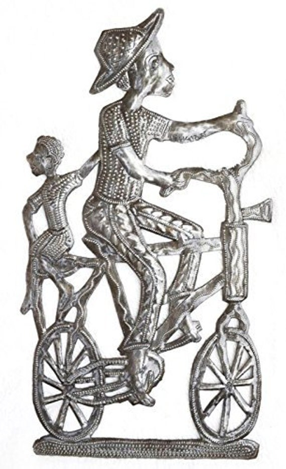 "Bike Art, Metal Wall Art Haiti, Traditional Folk Art 8"" x 15"""