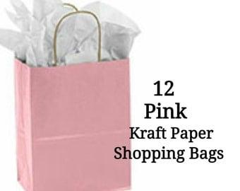 Kraft Paper Shopping Bags ~ Pink ~ Medium ~ 12 Bags