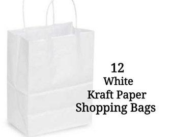 Kraft Paper Shopping Bags ~ White ~ Medium ~ 12 Bags