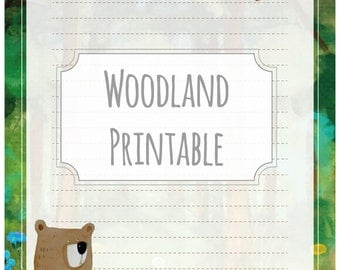 Woodland bear green - printable writing paper
