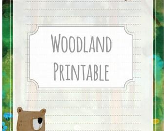 Woodland bear green - printable writing paper