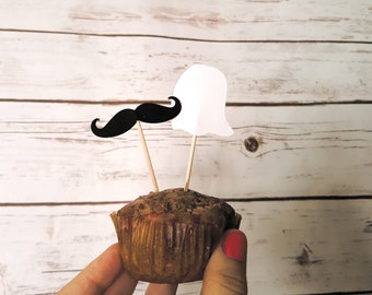 Set of 5 Hipster Ghost Food Flags