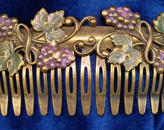 "Vintage Painted Metal Hair Comb ""Vineyard"" with Grapes & Trellis"