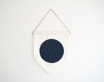 ORION CONSTELLATION - Wall Banner, embroidered in copper shimmering thread.