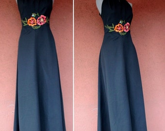 1970's Halters Evening Gown – 70's Maxi Evening Gown – Floral Motif –Size S