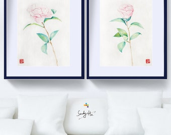 Original Set Camellia Painting  Watercolor Flower/Chinese painting–Set of 2 Pink Flower Painting, 11X14'' Wall Decor Home Décor