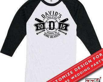 Funny Wedding T Shirt Baseball Raglan Shirt American Apparel Raglan Ring Bearer Shirt Youth MD-442(RING BEARER)
