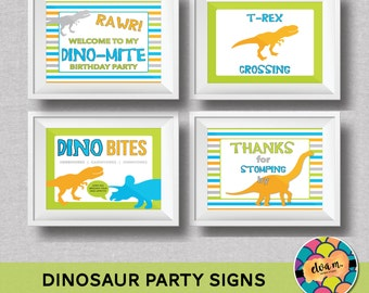 "Dinosaur Birthday 4- 8x10"" Signs. Rawr Dinosaur Theme Party. Printable / DIY.  *INSTANT DOWNLOAD*"
