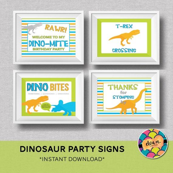 Dinosaur Birthday 4 8x10 Signs. Rawr Dinosaur Theme