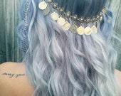 Coin Head Chain Jewelry, Antique Gold Coin, Hair Chain Accessory, Tribal Hair Chain, Egyptian Hippie Head Piece. Head Piece
