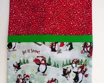 Penguin Snow Christmas Child's Full size Pillowcase