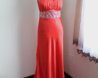 Orange Beaded Gown by Taboo, Size 13 14 Gown, Tall Maxi Sleeveless Formal Dress, Low Back, Train Hemline