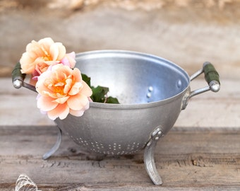 Pretty French Vintage Aluminum Colander - 1940s - Free Shipping Within the USA