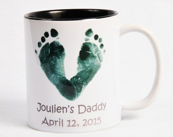 Baby Footprints Deco Mug 11 oz - Created Using Baby's Actual Footprints.  Baby Keepsake Gift - Holiday Gift - Mother's Day - Father's Day