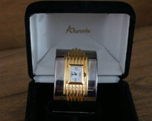 Franklin Mint 1987 Alfred Durante Art Deco Style Vintage Cuff Watch Silver & Gold Plate With Original Velvet Box