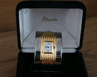Franklin Mint 1987 Alfred Durante Art Deco Style Vintage Cuff Watch Silver & Gold Plate With Original Velvet Box BT-372
