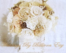 Wedding Table Centerpiece, Ivory Sola Flowers, Champagne Blush, Custom Colors Available, Birch Centerpiece,Shabby Country Rustic Centerpiece