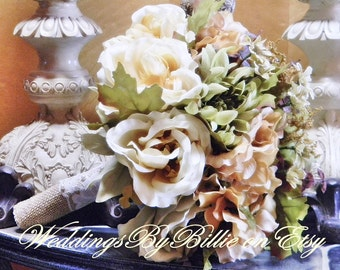 Fall Wedding Flowers - Fall Silk Bouquet - Shabby Chic - Rustic Wedding - Fall Wedding - Woodland Wedding - Keepsake Bouquet - Burlap Lace