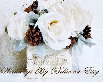 Wedding Table Centerpiece, Winter Wedding Flowers, Custom Colors Available,Birch Wedding Centerpiece, Shabby Chic Country Rustic Centerpiece