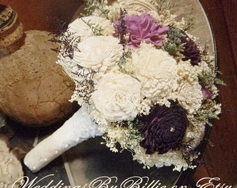 Fall Bouquet, Plum Lavender Sola Bouquet,Burlap Lace,Purple Bouquet,Alternative Bouquet, Bridal Accessories,Keepsake Bouquet,Wedding Bouquet