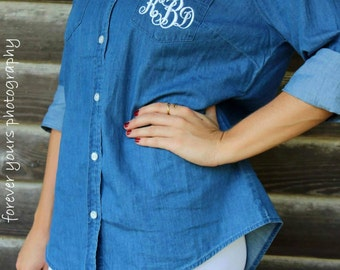 Monogrammed Blue Jean Button Up
