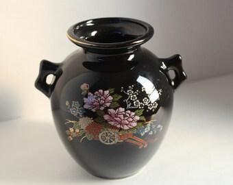 Ceramic Flower Vase with Asian Design