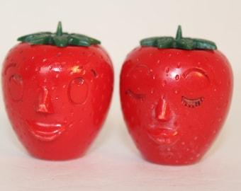 Vintage Plastic Strawberries Salt and Pepper Shakers