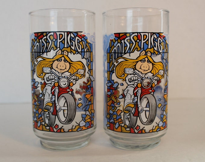 Vintage Miss Piggy Drinking Glasses Set of 2