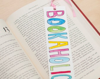 Watercolor lettering bookmark Cute bookmark for your book lover