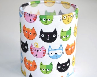 Lantern Night Light in Quirky Cat Fabric - Safe Battery Operated Tea Light