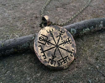 Viking Jewelry Compass Vegvisir Pendant Necklace Norse Jewelry Hand Hammered
