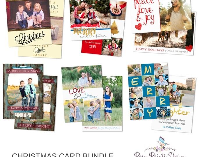 Christmas Card Bundle of Photoshop Templates - 5x7 Digital Photography Photoshop Files - Templates for Photographers - CCB01