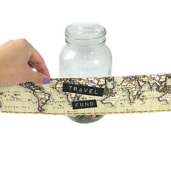 Travel fund digital label for diy money jar create your own for Travel fund piggy bank