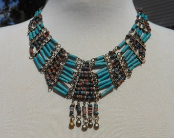 Vintage 1930s Egyptian Revival Brass and Turquoise Faience Tube Beads Art Deco Bib Necklace,  Cleopatra Necklace